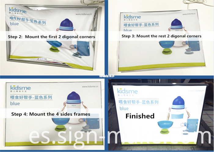 installation of frameless fabric light box