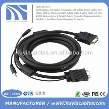 15PIN SVGA varón a varón con el cable estéreo del cable de 3.5mm Audio para PC TV