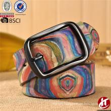 China Manufacturer Custom Cowhide Leather Belts Belt Buckles Printing Design