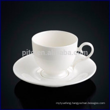 Hot selling fine bone china porcelain coffee cup western design white coffee cup with saucer for high tea