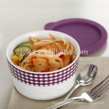 casserole en céramique empilable sûre au four avec couvercle en silicone