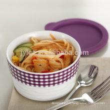 oven safe stackable ceramic casserole with silicone lid