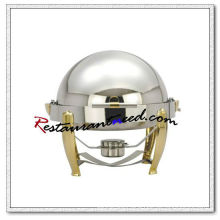 C085 Stainless Steel Round Roll Top Chafing Dish Set With Titanium Plated Handle And Legs