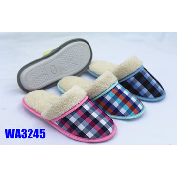 Women's Fur Check Winter Binding Indoor Slippers