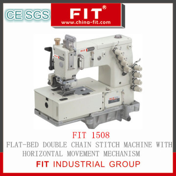Flat-Bed Double Chain Stitch Machine with Horizontal Movement Mechanism (FIT1508)