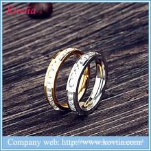 Novos produtos 2016 anéis de aço inoxidável com pedras de metal O anéis de design
