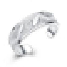 Menina 925 prata esterlina anel de abertura embutidos folhas