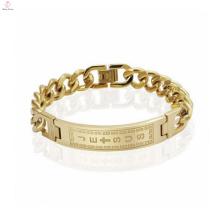 Bracelete de corrente de ligação cubano banhado a ouro vintage, bracelete com bijuteria inicial