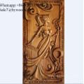 Decoração de casa decoração artesanal de parede de madeira esculpida painéis de parede senhora escultura em madeira painéis