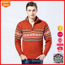 Venta al por mayor suéteres de la tela de los saltadores de la Navidad para los hombres con la cremallera y el copo de nieve