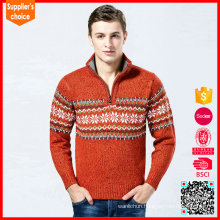 Wholesale christmas jumpers fabric sweaters for men with zip and snowflake