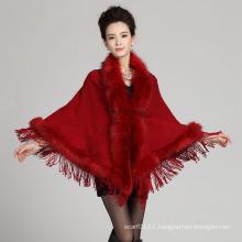 Lady Fashion Triangular Acrylic Knitted Faux Fur Fringe Shawl (YKY4473)