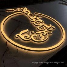 OEM wall mounted light up logo advertising illuminated 3d led optical metal carved logo sign outdoor light sign
