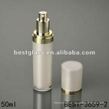 Botella acrílica redonda de 50 ml con tapa blanca