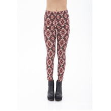 Kaleidoscope Print Knit Leggings with Elasticized Waist