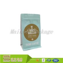 Impresión a color personalizada Zip Top pequeños granos de café tostados Bolsa / Heat Seal laminado 250g Caja inferior Bolsa de café sin válvula