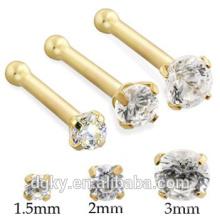 Interne Gewinde-Zink-Set Klare Nase Piercing 14K Gold Nase Knochen