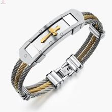 Nouveau Style Déclaration Bijoux Jésus Or Acier Inoxydable Hommes Acier Câble Croix Bracelet