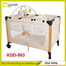 China Manufacturer Red Blue Brown Playpen Baby Double Layer Diaper Changer Toy Bar with 5 Toys Fast Folding Baby Playpen Bed