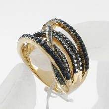 Bright silver and gold full shine rhinestone crystal ring brief multi rows metal rings