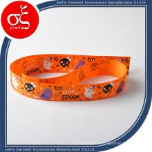 Bracelete tecido impresso da fita do cetim do poliéster da borda