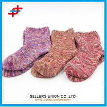 winter slub yarn cotton girls tube fuzzy thick sock for wholesales
