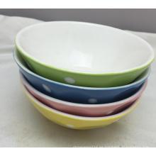 Cubo de sopa de porcelana con vidrio y pintura