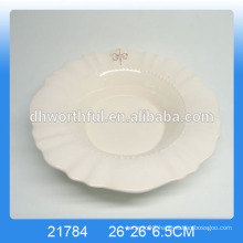 Customize white ceramic dinner dish,dinner plates with logo