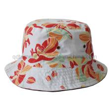 Flower Print Cotton Woven Plain Cloth Leisure Bucket Hat (TRBH14002)