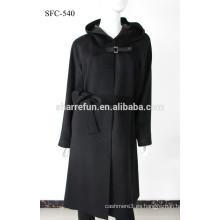 Fábrica al por mayor SFC-540 súper damascht señoras abrigo de cachemira pura