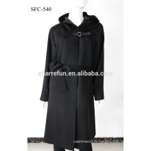 Usine en gros SFC-540 super elegangt dames pur long manteau en cachemire
