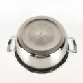 Espelho chinês terminou panela de sopa de panelas de aço inoxidável com alça dupla