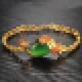 Señoras Vintage chapado en oro 18k Pulsera de ágata piedra Peacock