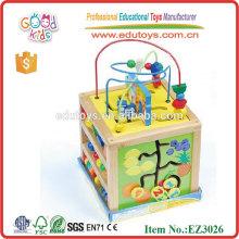 Cubo de juguete de uso múltiple de madera