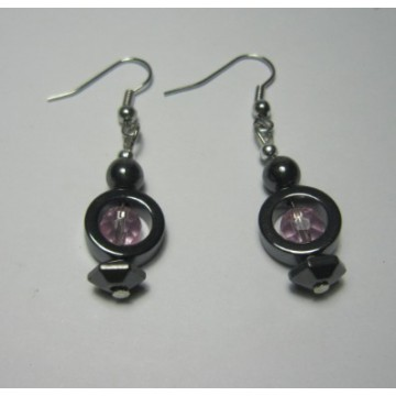 Hematite Earring with silver color finding