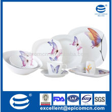 Japanese style butterfly decal 47pcs square shape ceramic dinner set with salad bowls