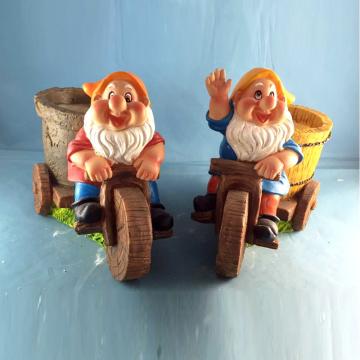 Polyresin Gnome Decoración Riding Bike Enano Maceta para Jardín