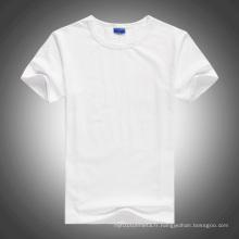 Blanc O-cou à manches courtes blanc T-Shirt en coton pour le transfert de chaleur