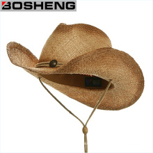 Straw Cowboy Hat with Chin Cord & Elastic Sweatband