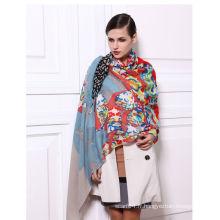 Écharpe oblongue foulée en laine et soie