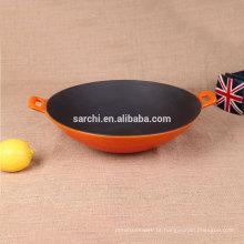 Venda quente de esmalte de ferro fundido wok