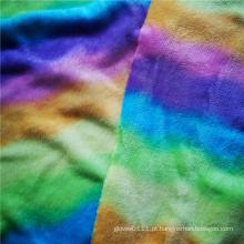 Tecido de malha de flanela espessa com estampa colorida de poliéster