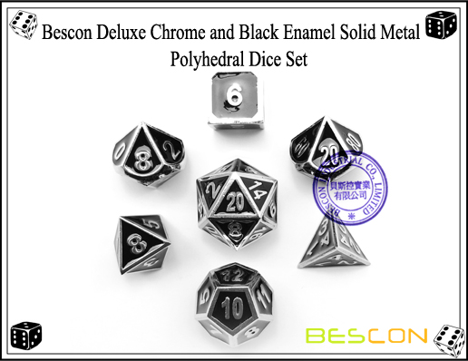 Bescon Deluxe Chrome and Black Enamel Solid Metal Polyhedral Role Playing RPG Game Dice Set (7 Die in Pack)-4