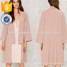 Casaco cor-de-rosa do casaco de lã OEM / ODM fabricação atacado moda feminina vestuário (TA7007J)