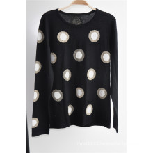 Women Round Neck Patterned Long Sleeve Pullover Knitted Sweater