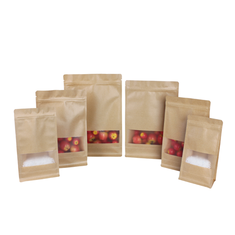 Flat Bottom Ziplock Bags Kraft Paper