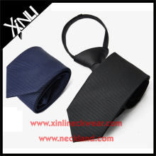 Polyester Navy Black Solid Elastic Neckties in Zipper School Tie