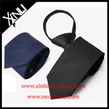 Полиэстер темно-черный сплошной упругой галстуки галстук молния в школе