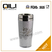 Plastic thermal travel mug