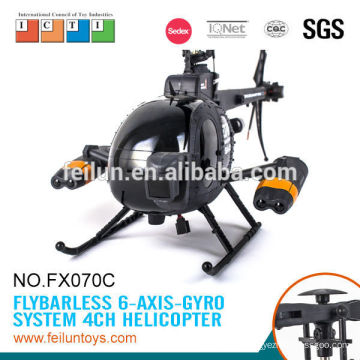 Cool helicopter fx070c big 2.4g 4ch flybarless remote control helicopter with gyro for sale CE/ROHS/FCC/ASTM certificate